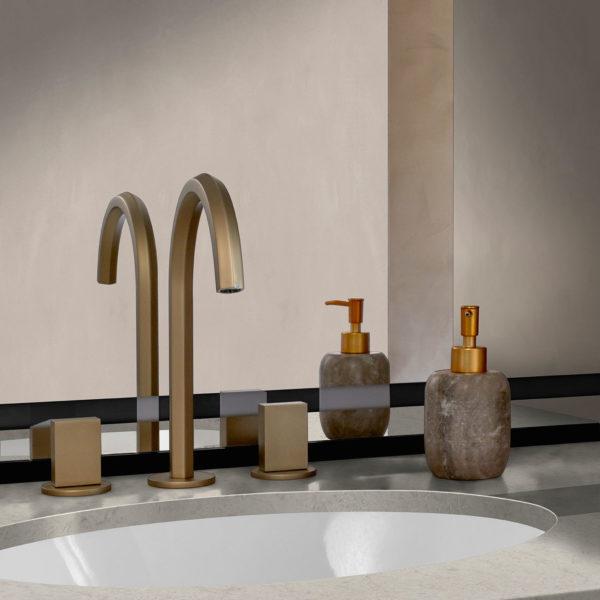 corian quartz vanity with corian sink